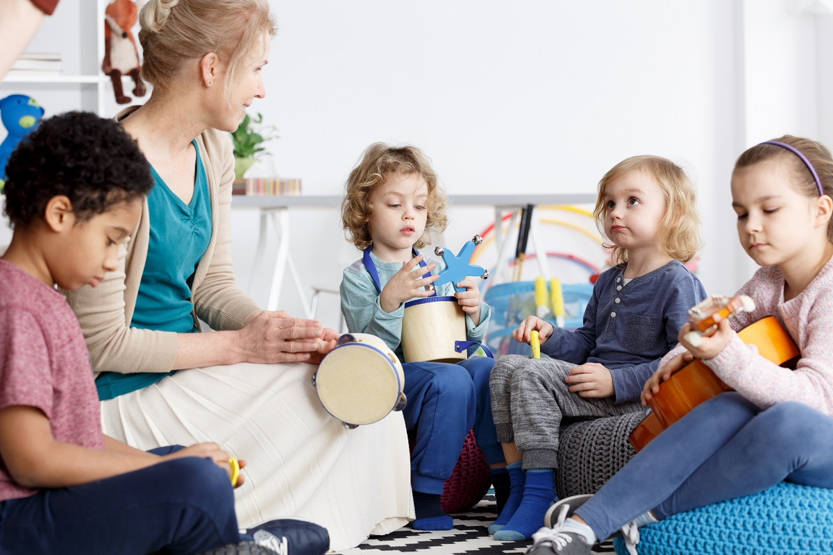 music teacher with young kids