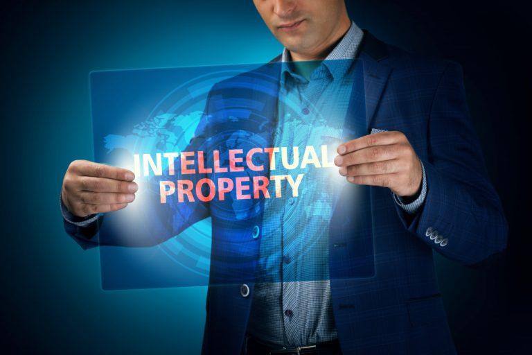 man holding intellectual property