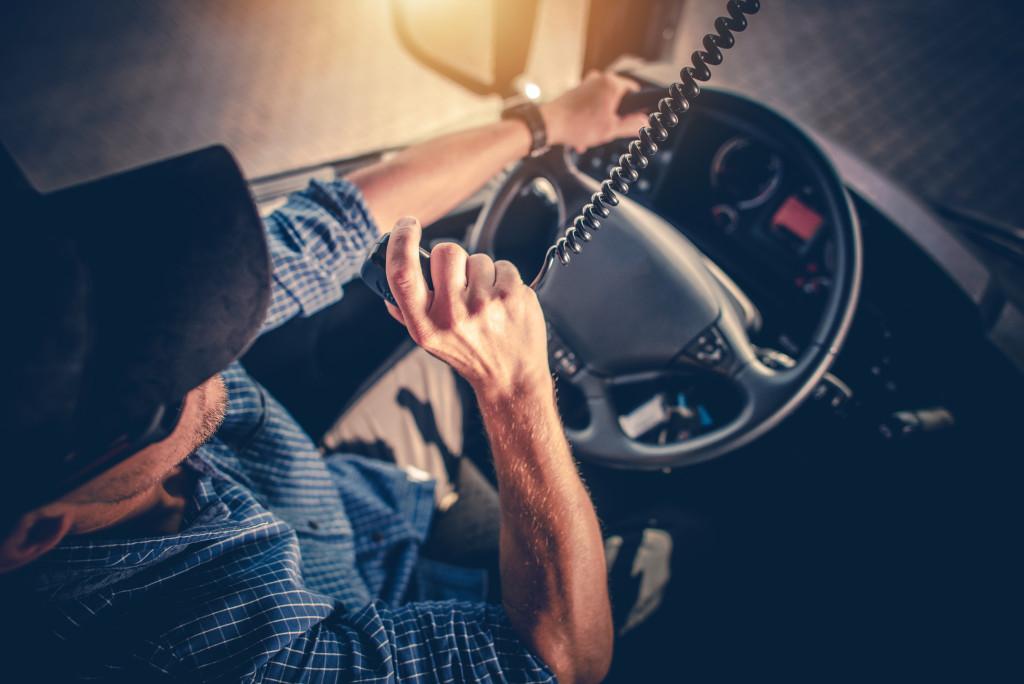 truck operator on radio