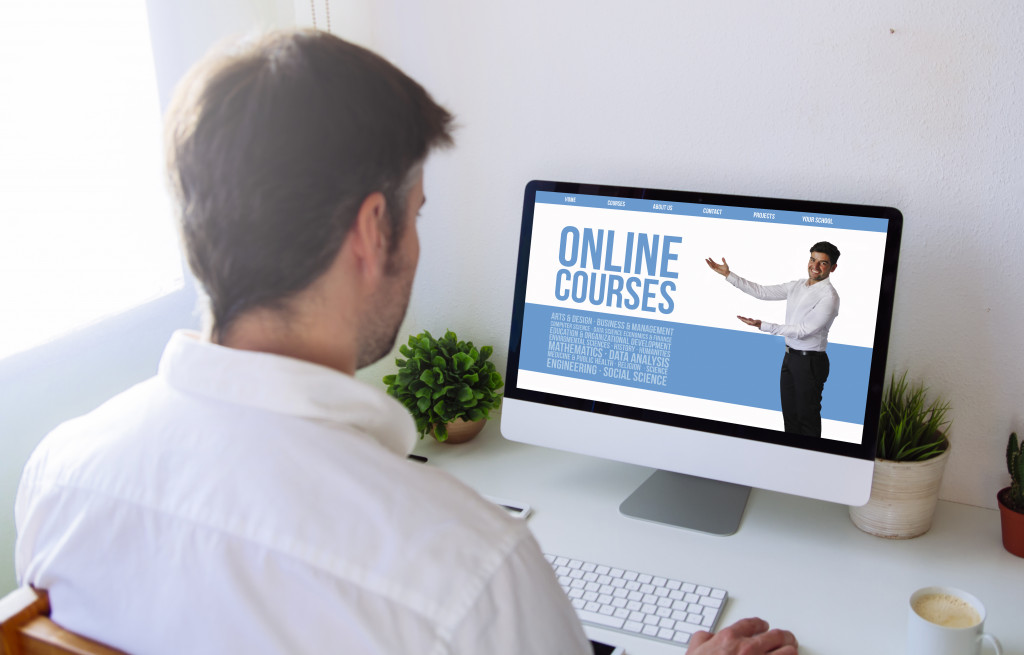 man taking an online course