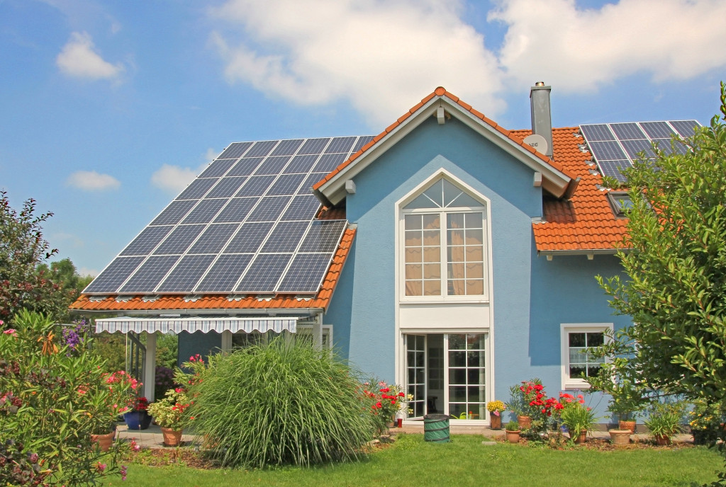 home with solar panel roof
